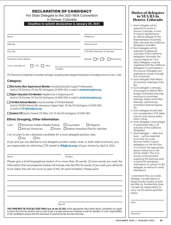 TEA Ex Bd Declaration of Candidacy Form Page 1
